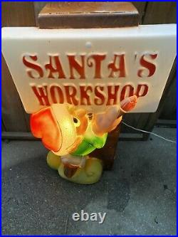 Santa's Workshop Blow Mold Christmas Lighted Outdoor Yard Decor 34 Elf Sign