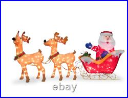 Santa with 2 Deer Sleigh Christmas Decoration Lighted Display