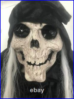 Scary Lifesize Animated Lights & Sounds Grim Reaper Realistic Halloween Prop