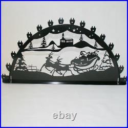 Schwibbogen Lichterbogen Weihnachtsmann Rentier Metall XL Außen-Bereich schwarz