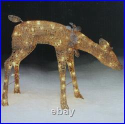 Sears Roebuck Gold Christmas Lighted Doe Deer Indoor Or Lawn Yard Ornament