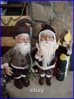 Set 2 NWT 18 Santa's Elves ELF Christmas Display Prop Figure Doll Brown Clothes