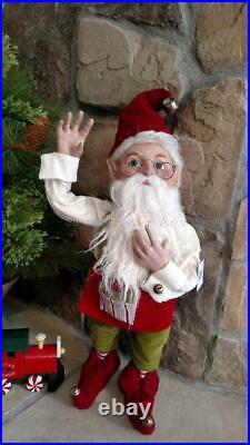 Set 2 NWT 20 Santa's Elves ELF Red Green Stripe Christmas Figurine Display Prop