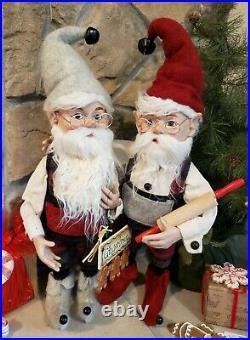 Set 2 NWT 20 Santa's Elves ELF Red White Plaid Christmas Figure Display Prop