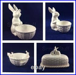Set/4 Williams Sonoma Easter Sculptural Bunny Butterfly Serve Bowls Butter Dish