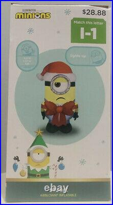 Set Of Two 2020 Minions Dave And Stuart Airblown Inflatables Christmas Deco