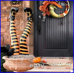 Set of Two Orange Witch Leg Stakes For halloween haven