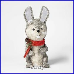 Sisal Bunny Rabbit Sculpture withLights Xmas Holiday Lit Decoration Indoor/Outdoor