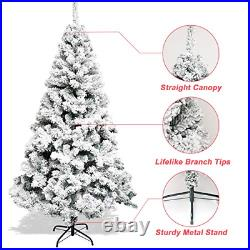 Snow Flocked Christmas Tree 7.5ft, Artificial Frost Tree with Storage Bag Hinged