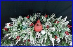 Solar light+Cardinal Christmas Cemetery Double Headstone Saddle+Vase Bushes