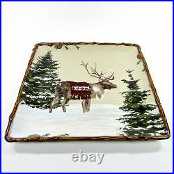 St. Nicholas Square SNOW VALLEY 14.5 Serving Platter Reindeer Pine Trees Cones