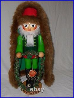 Steinbach Volkskunst The Irish Santa Nutcracker Coat Garland Bells Hat Boots EUC