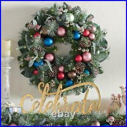 Sugarplum 28 Cordless Tastefully Decorated Holiday Wreath with50 White LED Lights