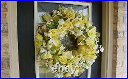 Sunny Yellow Rose Floral Spring Summer Deco Mesh Front Door Wreath, Home Decor