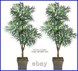 TWO 6' Phoenix Palm Tripled Artificial Tree Silk Plant, with No Pot