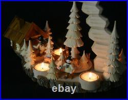 Teelicht Pyramide hand- geschnitzt Waldmotiv Räucherhaus Erzgebirge Schnitzerei