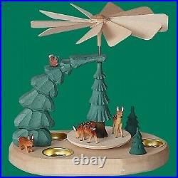 Teelichtpyramide mit Rehe farbig Weihnachten Seiffen Erzgebirge Stern Schnee NEU