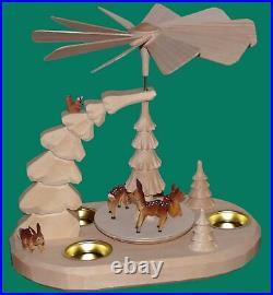 Teelichtpyramide mit Rehe natur Seiffen Erzgebirge Weihanchten Schnee Stern NEU