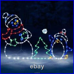 The Playful Animated Snowball Fight Christmas Lights Yard Decoration