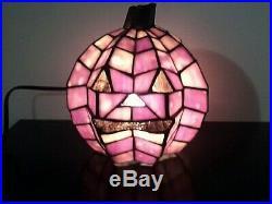 Tiffany-Style Stained Glass Lead Joint Halloween Pumpkin Jack-O-Lantern Lamp NIB