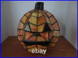 Tiffany Style Stained Glass PUMPKIN Lighted Lamp Leaded Jack O Lantern Halloween
