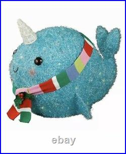 Tinsel Narwhal Whale Sculpture withLights Xmas Holiday Decoration Indoor/Outdoor