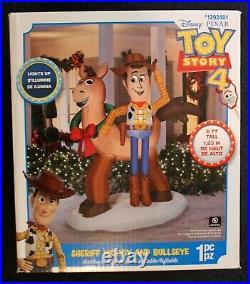 Toy Story Christmas Sheriff WOODY & BULLSEYE Large Inflatable! 6 FEET TALL