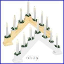 Traditional Christmas 7 LED Candle Lights Bridge Stand Gift Holder Home Decor