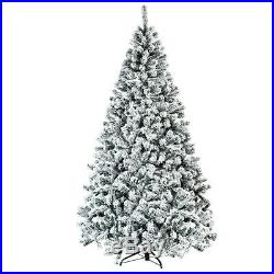 Tree Christmas Artificial W Stand 7.5Ft Snow Flocked Holiday Elegant Lush