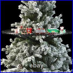 Treno natalizio elettrico supporto centro albero di Natale suoni luci trenino