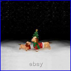 Trim A Home Holiday Mama Duchshund and Baby dachshund 26 x 17 50 Lights