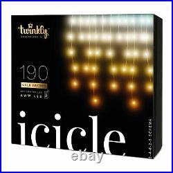 Twinkly 190 LED Amber & White 16x2 Ft Bluetooth Outdoor Christmas Icicle Lights