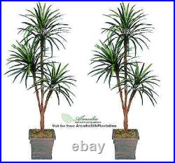 Two 6' Yucca Tripled Artificial Palm Tree Silk Plant, with No Pot