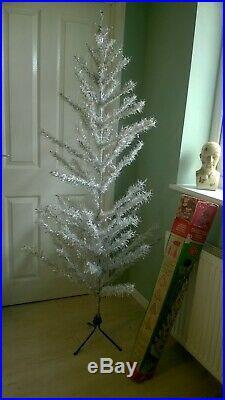 VINTAGE 1950/60s SWAN BERRIES 6 FOOT SILVER TINSEL ARTIFICIAL CHRISTMAS TREE