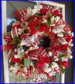 Valentine's Day Country Farmhouse Deco Mesh Front Door Decor Decoration Wreath
