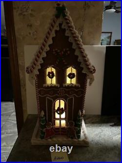 Valerie Parr Hill 25 Lighted Christmas Gingerbread Peppermint Candy Cane House
