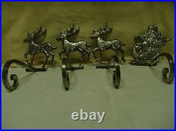 Very Rare Vntg Large Heavy Silver Santa & 3 Reindeer Christmas Stocking Holders