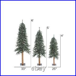 Vickerman 4' 5' 6' Natural Bark Alpine Artificial Christmas Tree Set Unlit