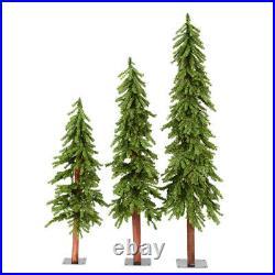 Vickerman 4, 5, and 6 Feet Unlit Natural Alpine Artificial Christmas Tree Set
