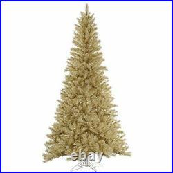 Vickerman 7.5' White-Gold Tinsel Artificial Christmas Tree Unlit