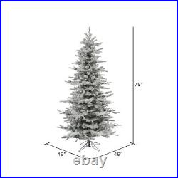 Vickerman Flocked Slim Sierra 6.5 Foot Tall Full Body Artificial Christmas Tree