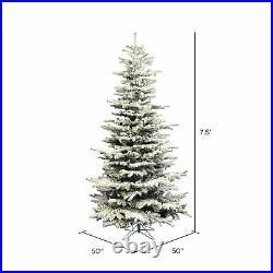 Vickerman Flocked Slim Sierra 7.5 Foot Tall Full Body Artificial Tree (Open Box)