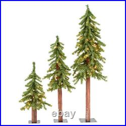 Vickerman Lit Natural Alpine Artificial Christmas Tree Set with Clear Lights