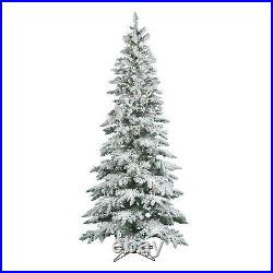 Vickerman Slim Utica 6.5 Foot Flocked Artificial Christmas Tree with White Light
