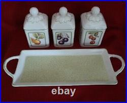 Villeroy & Boch Cascara Tablett + 3 Marmeladendosen French garden
