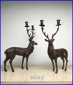 Vintage Department 56 Reindeer Taper Candle Holder Standing Deer Stag Bronze