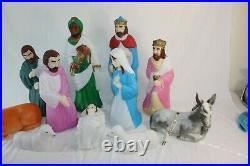 Vintage Empire Nativity Set 11 Piece Blow Mold Yard Decor Scene Lighted 23