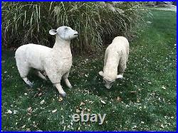 Vintage Folk Art Life Size Wooden Nativity Sheep Pair French Style Detailed