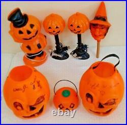 Vintage Halloween Blow Mold Lot Jack O Lantern Pumpkin Light Winking Witch Noise