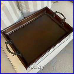 Vintage Large Bombay Company Wood Serving Bed Tray With Bronze Handles